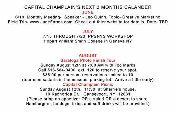 Capital Champlain's 2018 June, July, August Event Calendar